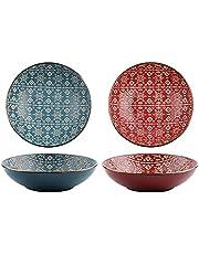Susimond 20.3 cm Advanced Porcelain Serving Bowl and Platter Set of 4, Premium Exquisite Patterns Ceramic Salad Fruit Bowls, Microwave Dishwasher Safe Pasta Dessert Bowl (Blue Maroon)