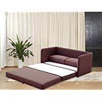 Sleeper Loveseat - Convertible to Full Size Small Sofa Bed - Contemporary Upholstered Two Seat Furniture (Brown)