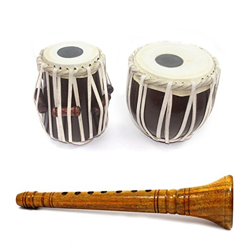 (Handmade Crafted 8 Years Kids Playing Musical Wooden Shehnai and Tabla Set Combo Showpieces Premium Christmas Gift or Multi Occasional Gift)