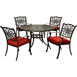Hanover TRADDN5PC-RED Traditions 5-Piece Set in Red Cast-top Table and Four Dining Chairs Outdoor Furniture, 48″ For Sale