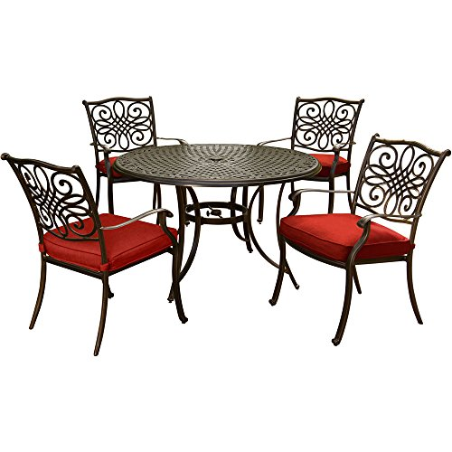 Hanover TRADDN5PC-RED Traditions 5-Piece 48 in. Cast-Top Table and Four Chairs Dining Set, Red