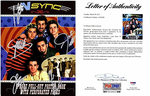 NSYNC Group Signed - Autographed NO STRINGS ATTACHED Tour Book by Justin Timberlake, JC Chasez, Lance Bass, Joey Fatone, and Chris Kirkpatrick - Certificate of Authenticity (COA) - FULL Letter - PSA/DNA Certified