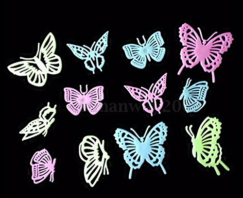 12PCS Home Decor Butterfly Fluorescent Wall Decals Luminescent wall stickers Set 02