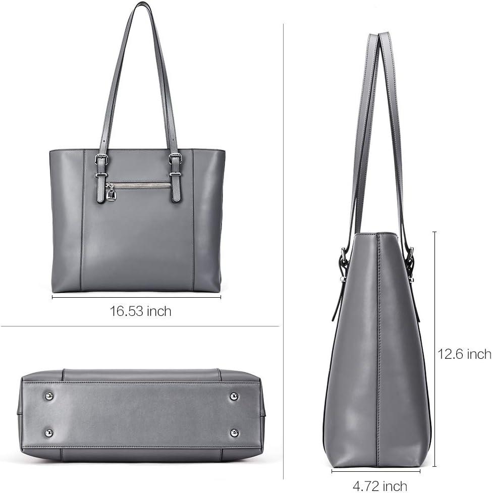 BOSTANTEN Women Briefcase Leather Laptop Tote Handbags 15.6 inch Computer Shoulder Bags Brown