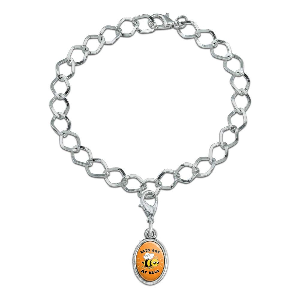GRAPHICS /& MORE Bees are My Bros Funny Humor Silver Plated Bracelet with Antiqued Oval Charm
