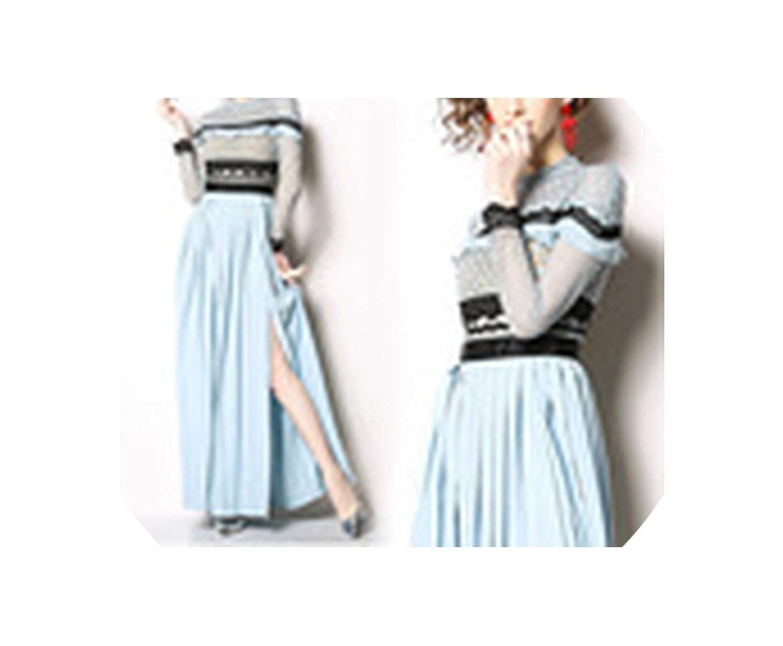 bluee HeatTracing Women Long Sleeve Lace Hollow Out Ruffles Spliced Casual Party Elegant Slim Dress