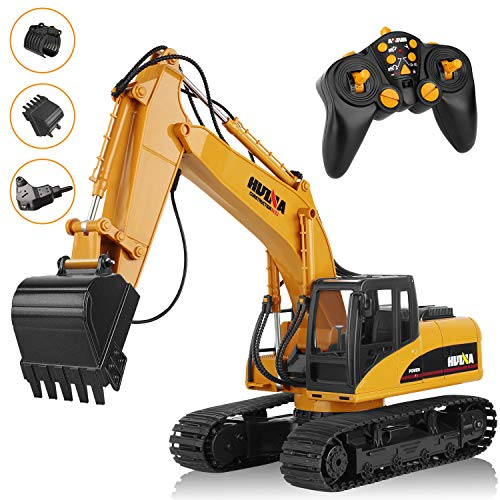 Aokesi 101 Feet Remote Controlled Excavator Vehicle,Three in One 16 Channel Full Functional Heavy Construction Digger Toy with 2.4G Transmitter, Excavator Truck with Realistic Sound&Light