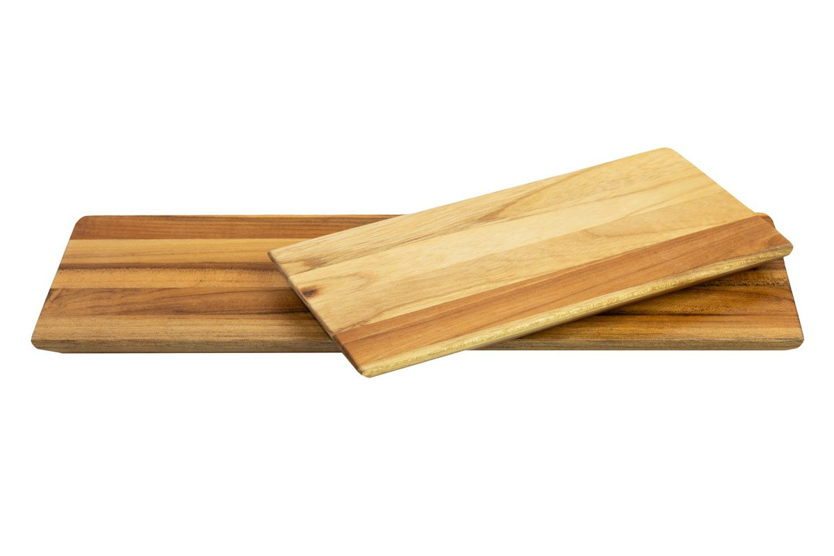 Terra Teak Wood Serving Board and Serving Tray (Combo Pack (Medium and Small))
