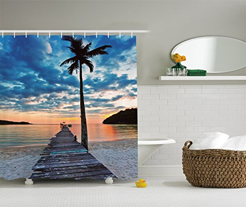 Ambesonne Palm Trees Shower Curtain Tropical Decor by, Nautical Ocean Artwork Wooden Dock Bridge to Water Waves in Sunset Theme, Polyester Fabric Bathroom Shower Curtain Set with - Theme Water