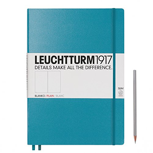 Leuchtturm1917 Hard Cover Master Slim (A4+) Notebook, Nordic Blue, Plain / Blank