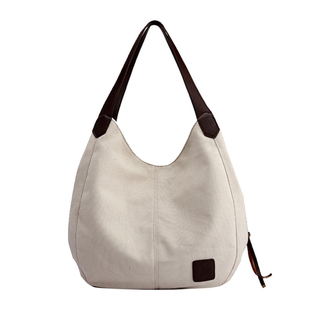 YJYDADA Women's Canvas Handbags Vintage Female Hobos Single Shoulder Bags (White)