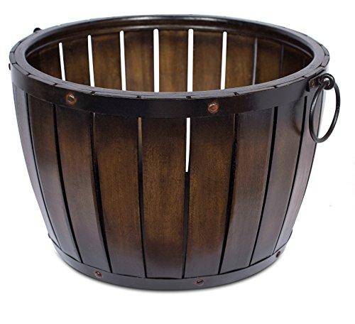 BirdRock Home Round Barrel Basket | Decorative Half Whiskey Barrel Design | Rustic Metal Handles | Living Room Décor | Bin | Dark Brown (Barrel Basket)