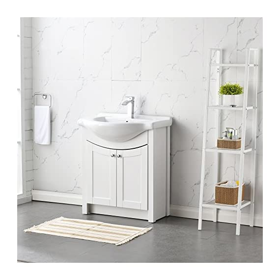 "RESSORTIR RES-BC019 Luxury Modern Bathroom Vanity with Ceramics Sink, 26"", White - Size: 26 in. W x 19 in. D x 37 Faucet and pop up drain not include Constructed in laminate composite wood - bathroom-vanities, bathroom-fixtures-hardware, bathroom - 51hS%2BJdfldL. SS570  -"
