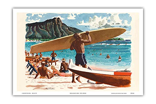 Waikiki Beach, Hawaii - Hawaiian Surfer, Diamond Head Crater - United Air Lines - Vintage Airline Travel Poster by Fred Ludekens c.1950s - Master Art Print - 12 x ()