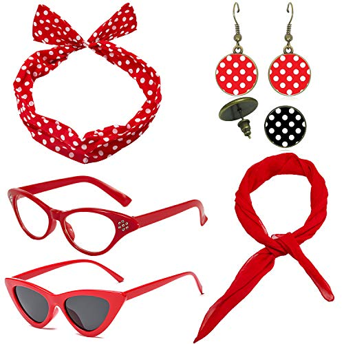 1950's Womens Costume Accessories Set - 50s Chiffon Scarf,Cat Eye Glasses,Bandana Tie Headband,Drop Dot Earrings (Red)