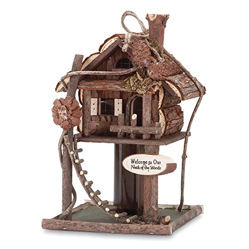 ees.Fishing Rustic Log Lake Cabin Camping Wood Fairy Bird Feeder House ()