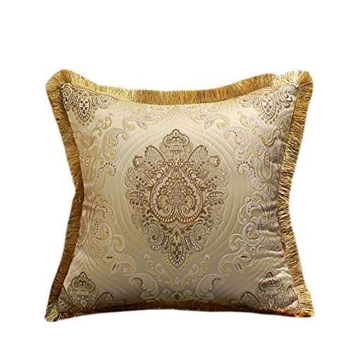 Riverbyland Decorative Throw Pillows Cover Cream Colored Gold Pattern 17