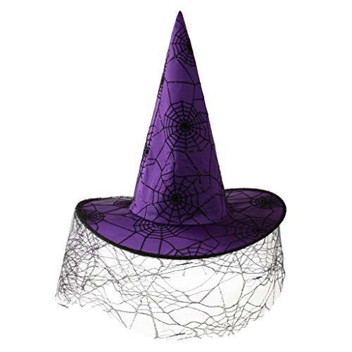 Dovewill Women Girls Halloween Peaked Cap Veil Spiderweb Purple Satin Witch Hat Party Costume (Satin Witch Costume)