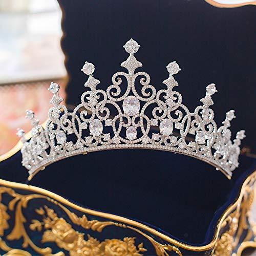 Micro Inlays Cubic Zirconia Tiara Crown Vintage Queen Headb Hair Jewelry Bridal Wedding Headdress Women Headpiece Ornaments
