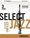 Rico Select Jazz Soprano Sax Reeds, Unfiled, Strength 3 Hard, 10-pack