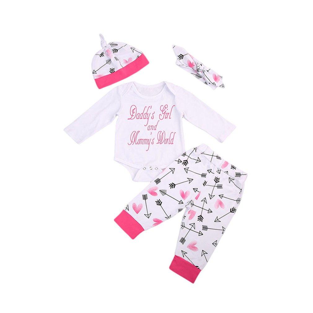 Giles Jones Newborn Baby Girl 4Pcs Outfit Cloth Romber+Pants+Hat+Headband