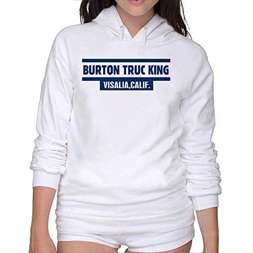 Women's Slim Fit Burton Trucking Visalia Calif Hoodies Sweatshirt White
