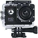 Outtop Waterproof Sports Action Camera, 1080P HD 170 Wide Angle Lens Mini Sport Camera with Protective Case (Black)