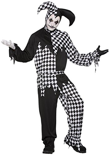 Dark Jester Costume - Standard - Chest Size up to 42 (Harlequin Halloween Costumes Uk)