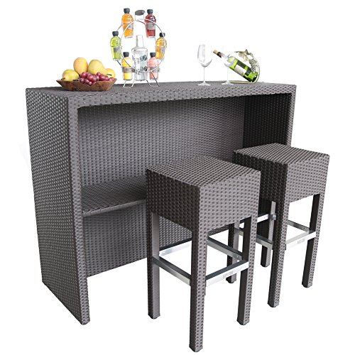 Abba Patio Wicker Bar Set Patio Furniture Set with 1 Table and 2 Bar Stools, Brown - Living Room Wicker Side Table