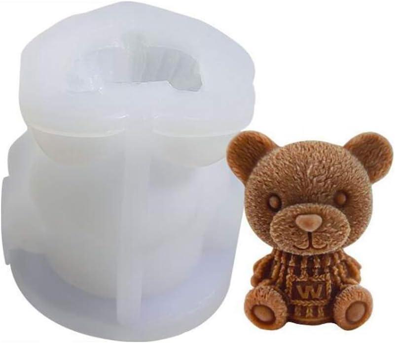 VOANZO Molde de oso 3D, molde de silicona para animales, molde de vela de jabón, horneado de pasteles, decoración de cupcakes