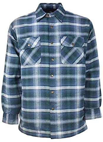 Canyon Guide Outfitters Men's Plaid Flannel Snap Front Work Shirt Jacket (Large, Green/Blue) - Canyon Guide