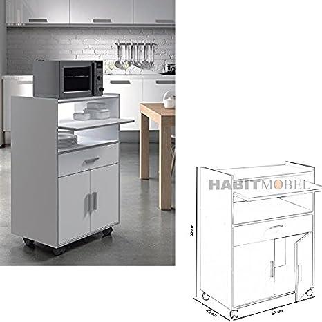 HABITMOBEL Mesa Funcional para Cocina con 1 Cajón + 2 Puertas (Ruedas)