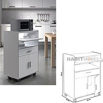 HABITMOBEL Mesa Funcional para Cocina con 1 Cajón + 2 Puertas (Ruedas): Amazon.es: Hogar