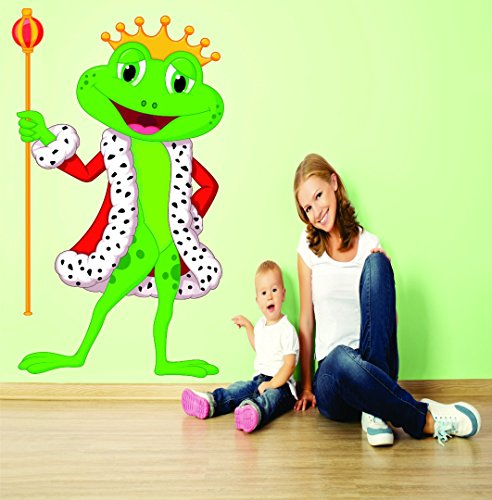 Wall Decal Sale : Prince King Frog Kids School Daycare Playroom Preschool Mural Size: 20 Inches X 30 Inches (Mural Frog)