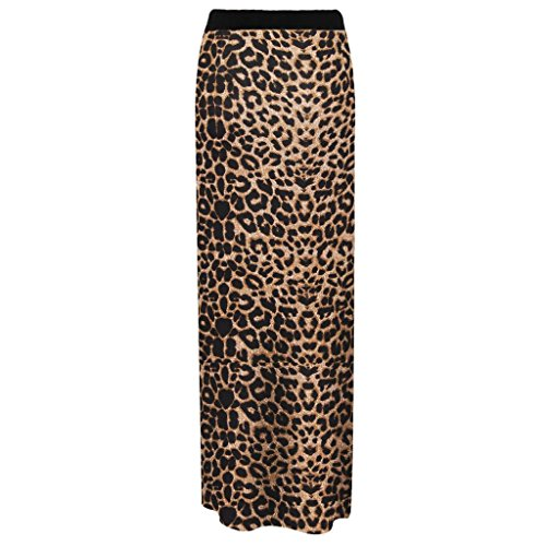 Birdcage Women's Long Jersey Maxi Stretch Gypsy Bodycon Skirt (US 10-12) Brown Leopard (Skirt Leopard Stretch)