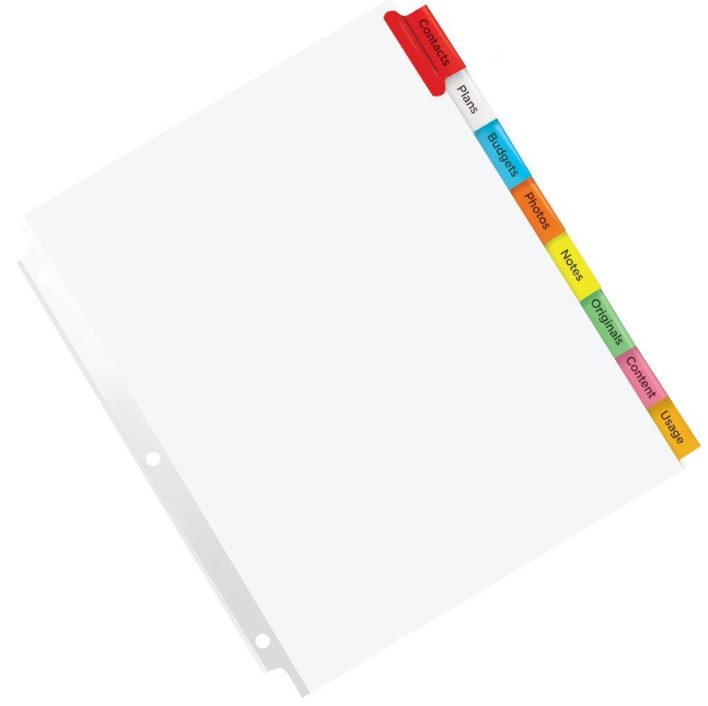 1 Set, Avery Big Tab Insertable Plastic Dividers for Laser and Inkjet Printers 9-1//4 x 11-1//8 Multi-Colour 5 tabs 11900
