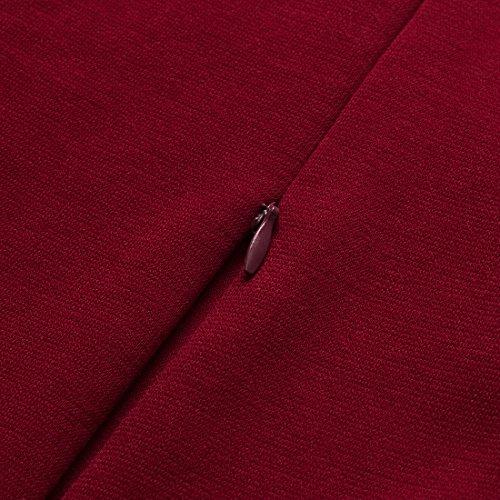HOMEYEE Mujer Vintage Bowknot 3/4 manga vestido de fiesta B244 Rojo