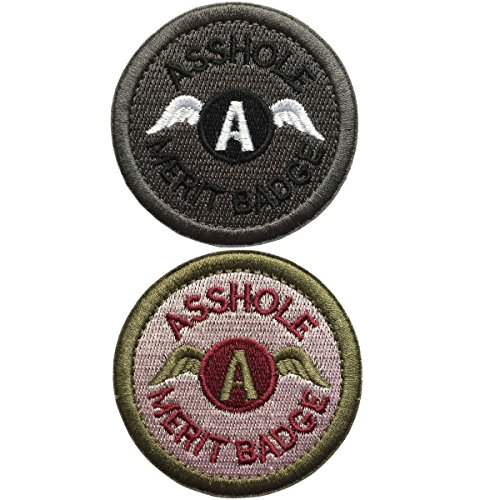 SpaceAuto Bundle 2 Pieces Set Asshole Merit Badge Military Tactical Morale Funny Patches - 2.48