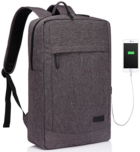Vaschy Business Laptop Backpack for 17 inch Computer With Built-in Charging Cable Lightweight Professional Rucksack with Waterproof Rain Cover