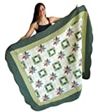 Squish Antique Patchwork Quilted Oversize Throw 55x70-Inch - Green Star