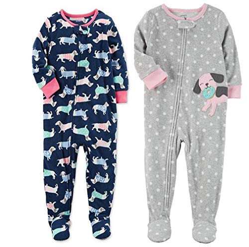 Carter's Baby Toddler Girl's 2 Pack Fleece Footed Pajama Sleep and Play Set (18 Months, Zipper Closure - Navy with Dogs and Grey Dot Dog) ()