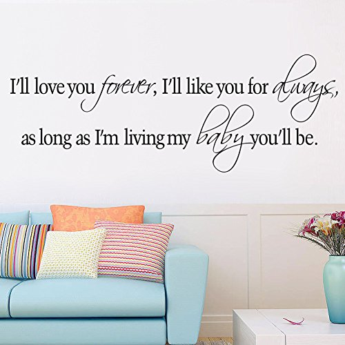 trfhjh Quotes Wall Sticker Home Art Love You Forever Like You Always As Long As I'm Living My Baby You'll Be Vinyl Wall Sticker Quotes Sayings Nursery Decor DecalFor Bedroom Living Room Kids Room by trfhjh