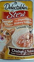 Delectables Stew Lickable Treat for Senior Cats Chicken Tuna (Box of 12)