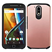 Asmyna Cell Phone Case for Motorola G4 Plus - Rose Gold/Black