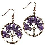 Dangle Earrings, BAYUEBA Tree of Life Chakra, Natural Amethyst Rose Quartz Peridot Lapis Lazuli Jewelry