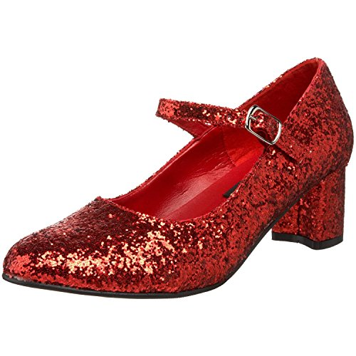 SchoolGirl-50G Costume Shoes - Size (Adult Red Sequin Shoes)
