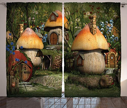 Ambesonne Farm House Decor Curtains by, Mushroom Houses in Forest Fairy Tale Fantasy Wonderland Dwarf Kid Nursery Theme, Living Room Bedroom Window Drapes 2 Panel Set, 108W X 84L Inches, Multi ()