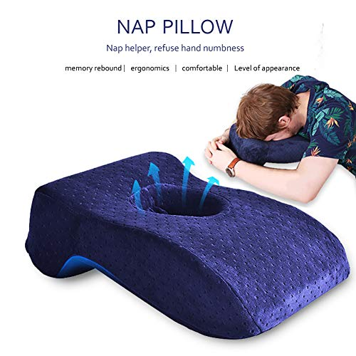 SOMIDE Nap Sleeping Face Pillow, Memory Foam Slow Rebound Face Down Desk Pillow Sleeper Back Support, Hollow Design, Removable Washable Velvet Cover Blue