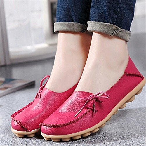 Size Flats up Lace Beststore Shoes Mother Shoes VAO Red Flats SDC179 Casual Large Girls Comfortable Women Fashion Breathable Shoes Leather Women Peach wwqErUPv