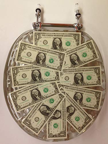 REAL U.S. DOLLARS & COINS MONEY LUCITE RESIN TOILET SEAT (Elongated) by POP VIEW (Image #4)